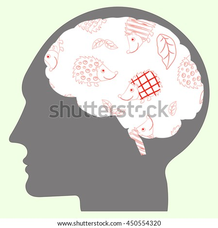 Cheerful vector illustration about hedgehogs in human brains - stock vector