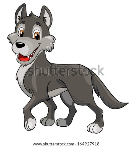 cheerful wolf on a white background, vector illustration - stock vector