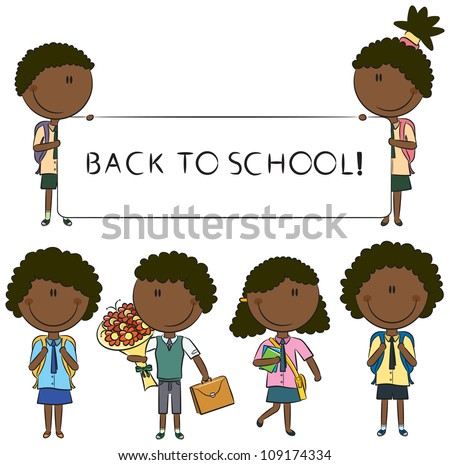 Cheerfull African-American school kids with empty banner, flowers and books - stock vector