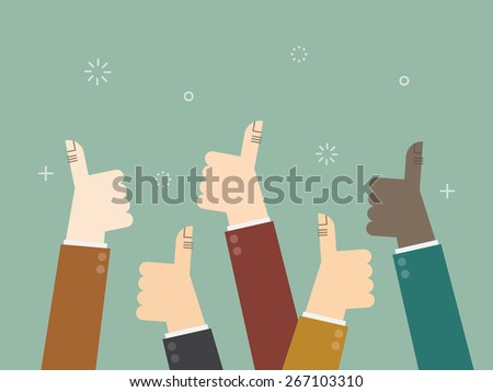Cheering business people holding many thumbs thumbs up - stock vector