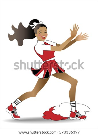 Cheerleader clapping hands and dancing happily