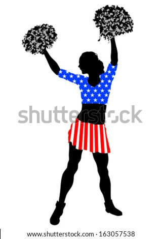 Cheerleader girl in dress from American flag on white background. Property release is attached to the file - stock vector