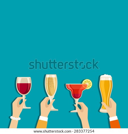 Cheers hands vector poster with place for text - stock vector
