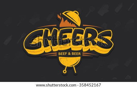 Cheers lettering vector logo sketch with grill bbq and beer beef