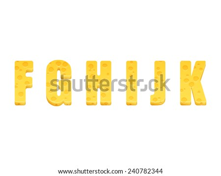 Cheese alphabet set. Letters F-K. Vector illustration - stock vector