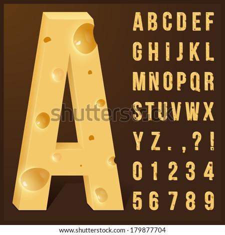 Cheese alphabet set. Vector illustration. - stock vector