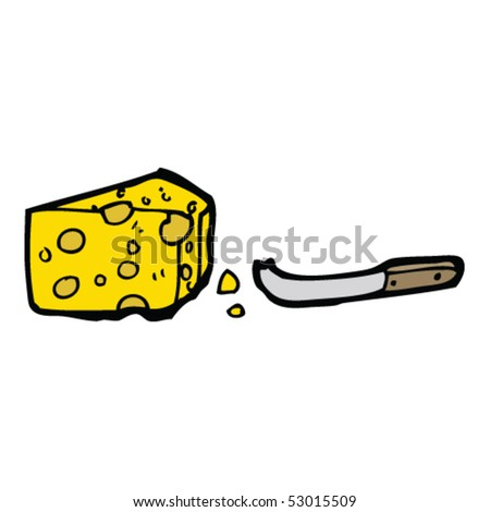 cheese and knife drawing - stock vector