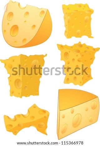 Cheese clip art - stock vector