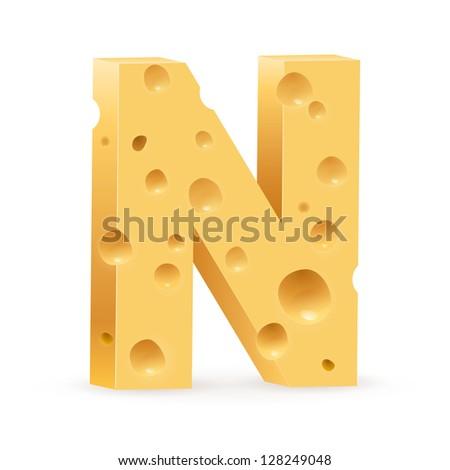 Cheese font N letter. Illustration on white. - stock vector