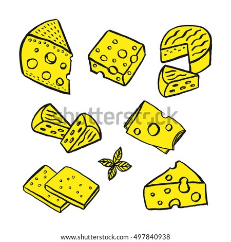 Cheese hand drawn set. Vector illustration.