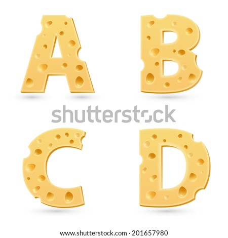 Cheese letters collection. Symbols isolated on white. Vector design elements. - stock vector