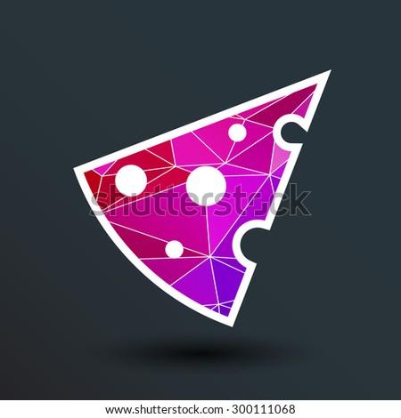 cheese logo snack eating fat vector, template icon. - stock vector