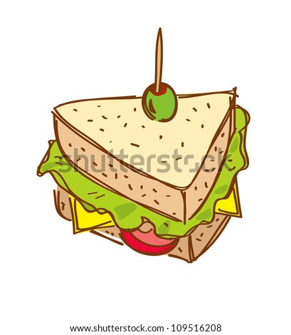 cheese sandwich doodle - stock vector