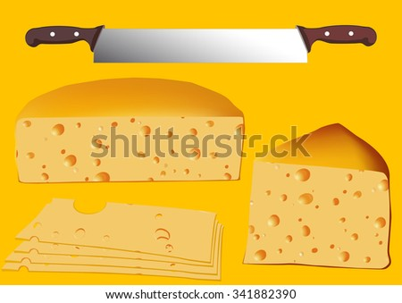 Cheese set with twin knife, vector illustration - stock vector
