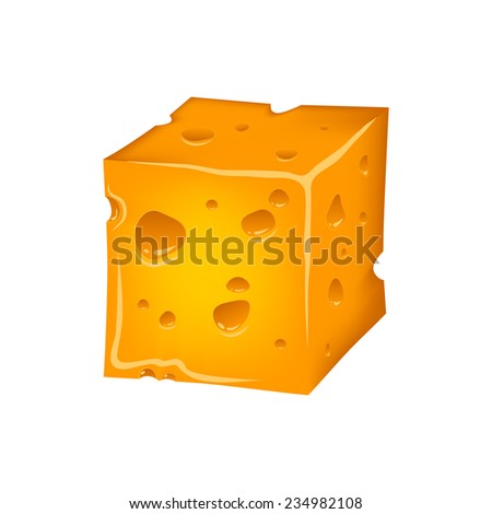 cheese slice with holes - stock vector