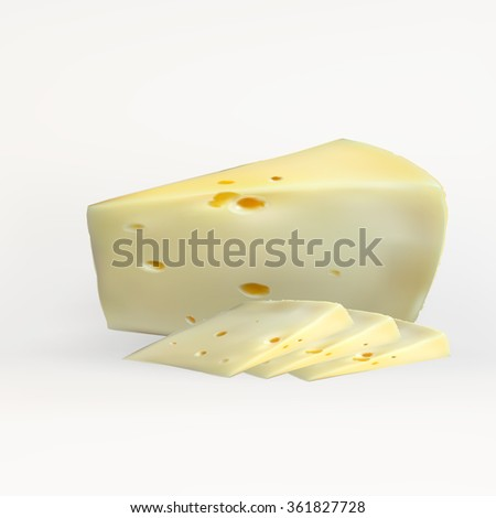cheese slices, with holes cut, isolated, realistic vector on a white background
