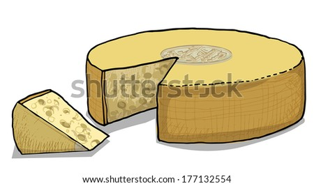 Cheese wheel, vector illustration - stock vector