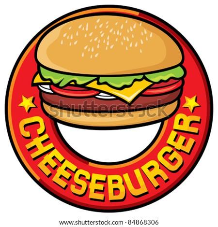 cheeseburger design (cheeseburger label) - stock vector
