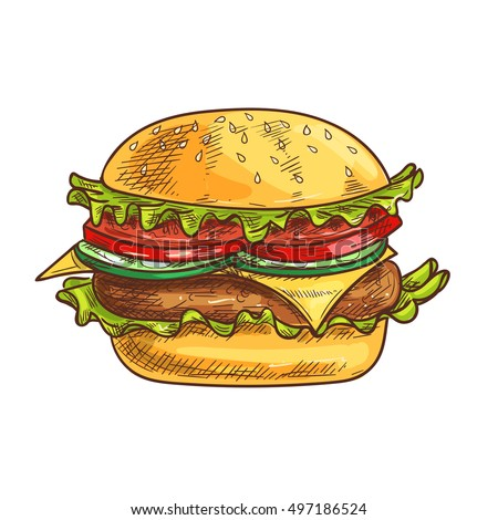 Cheeseburger fast food sketch icon. Vector fresh hamburger with sesame bun, fresh lettuce, tomatoes and onion slices, meat cutlet. Burger element for restaurant signboard, eatery menu, fast food label