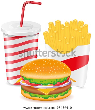 cheeseburger fries potato and paper cup with soda vector illustration - stock vector