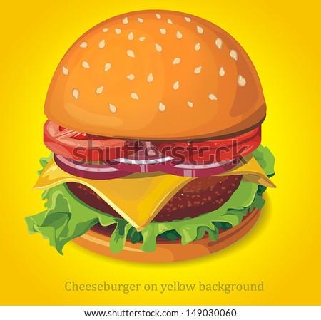 Cheeseburger on yellow background. Vector illustration - stock vector