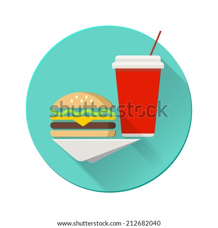 Cheeseburger with plastic cup on a napkin. Flat design vector illustration.