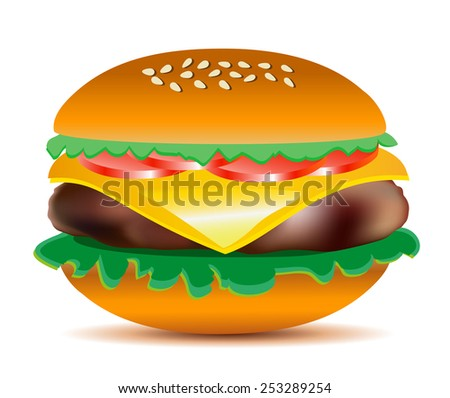 Cheeseburger with salad leaves, tomatoes, ham and sesame seeds. Big tasty colorful vector illustration. - stock vector