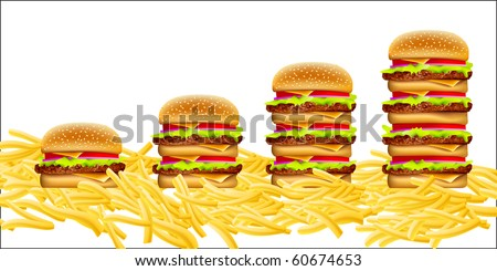 cheeseburgers increasing in size from left to right, on a bed of fries - stock vector
