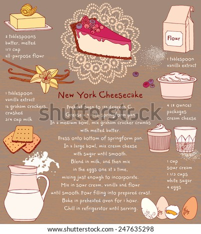 Cheesecake. Recipe card. Vector illustration of food ingredients. - stock vector