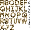 cheetah fur font alphabet - stock vector