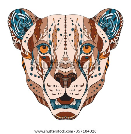 Cheetah head zentangle stylized, vector, illustration, pattern, freehand pencil, hand drawn. - stock vector