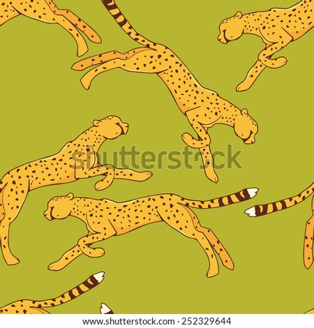 Cheetah seamless pattern on green background - stock vector