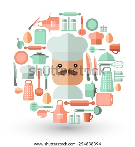 Chef and kitchen utensils : Flat Illustration - stock vector