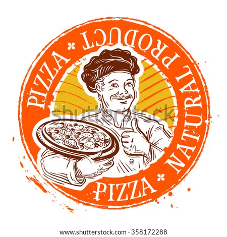 chef and pizza. stamp. vector illustration - stock vector