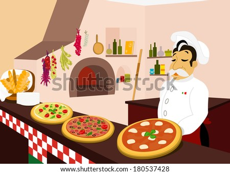 Chef and three delicious pizzas in the cozy pizzeria - stock vector