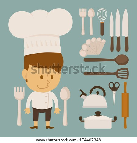 Chef and tool character , flat design , eps10 vector format - stock vector