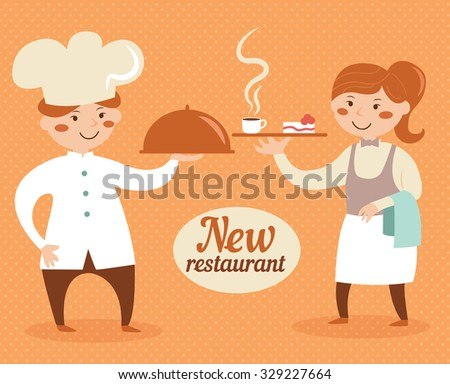 Chef and waiter.  Cartoon character. Vector isolated illustration. - stock vector