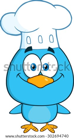 Chef Blue Bird Cartoon Character. Vector Illustration Isolated On White - stock vector