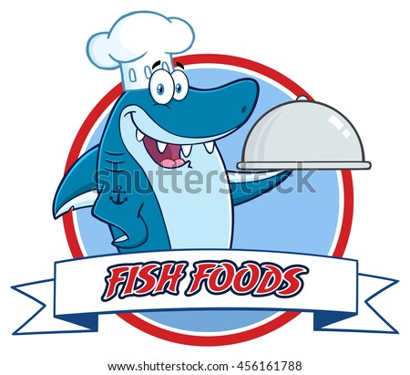 Chef Blue Shark Cartoon Mascot Character Holding A Platter Over A Ribbon Banner. Vector Illustration Isolated On White Background With Text Fish Foods - stock vector