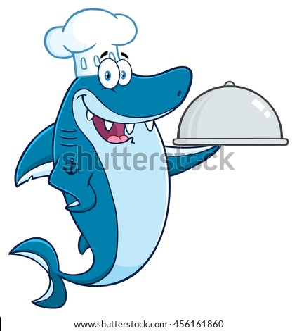 Chef Blue Shark Cartoon Mascot Character Holding A Platter. Vector Illustration Isolated On White Background - stock vector