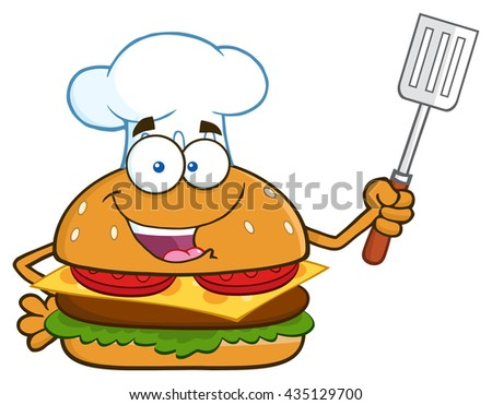 Chef Burger Cartoon Mascot Character Holding A Slotted Spatula. Vector Illustration Isolated On White Background - stock vector