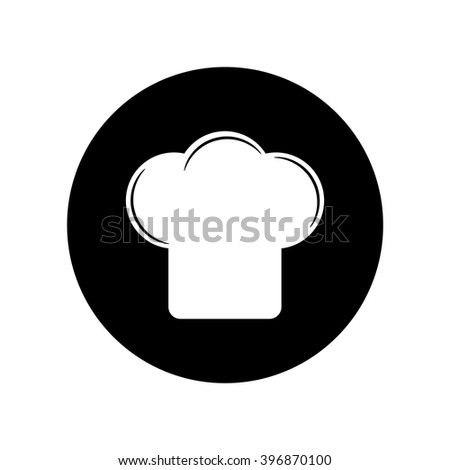 Chef cap icon in circle . Vector illustration