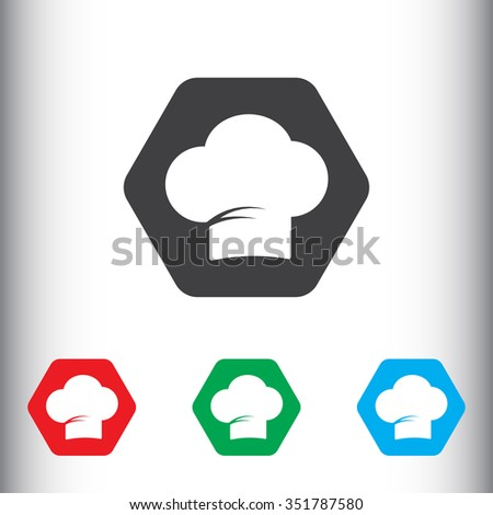 Chef cap icon, sign icon, vector illustration. Chef cap symbol. Flat icon. Flat design style for web and mobile. - stock vector