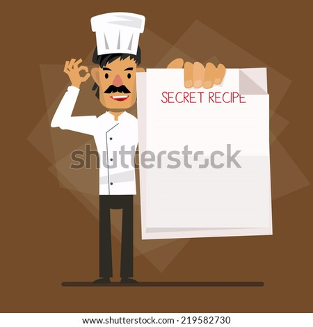 chef character showing paper. recipe concept - vector illustration