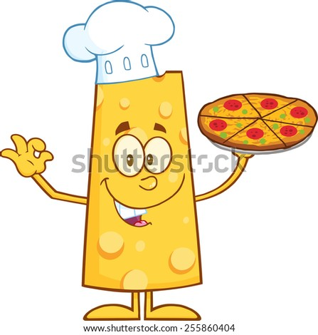Chef Cheese Cartoon Character Holding A Pizza. Vector Illustration Isolated On White - stock vector