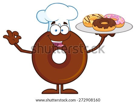 Chef Chocolate Donut Cartoon Character Serving Donuts. Vector Illustration Isolated On White - stock vector