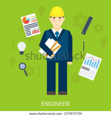Chef construction engineer man. Vector infographic in flat style - stock vector