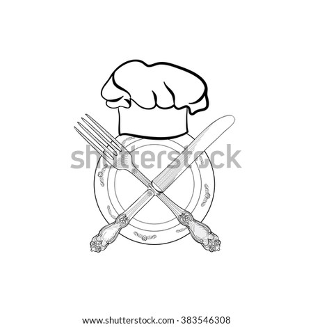 Chef cook hat with fork and knife hand drawing sketch label. Cutlery icon. Vector Catering and restaurant service insignia. Restaurant symbol chef cook hat. - stock vector