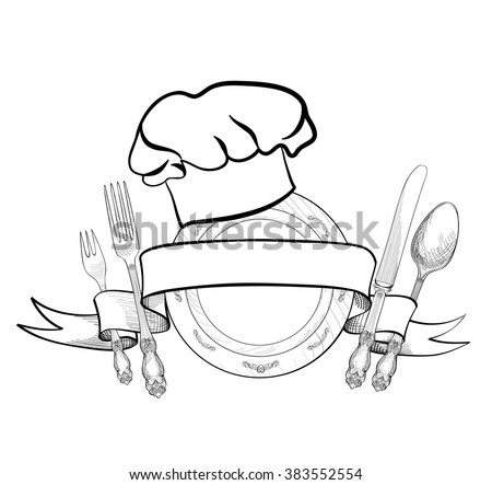 Chef cook hat with fork, spoon, knife and  plate hand drawing sketch label. Cutlery icon. Vector Catering and restaurant service insignia. Restaurant symbol chef cook hat. - stock vector