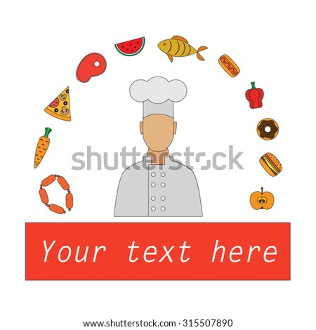 Chef cook line flat design